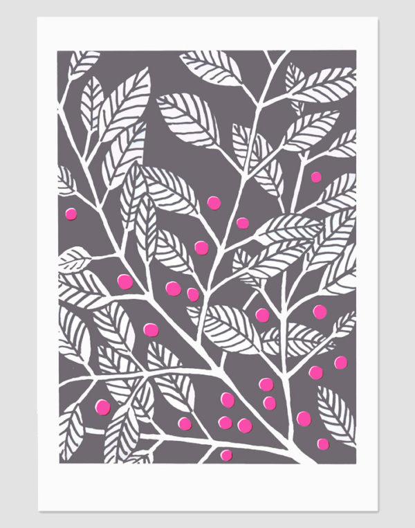 silkscreen print of leaves with neon berries