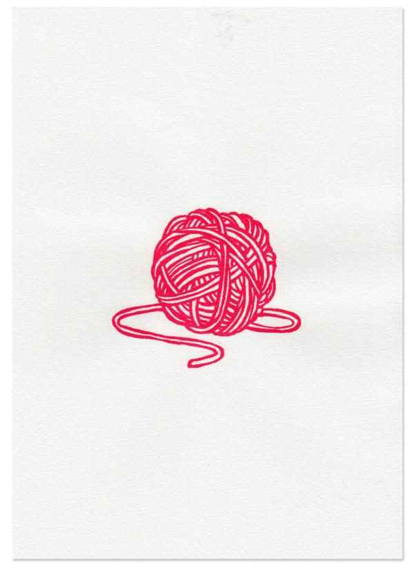 silkprint of a red thread