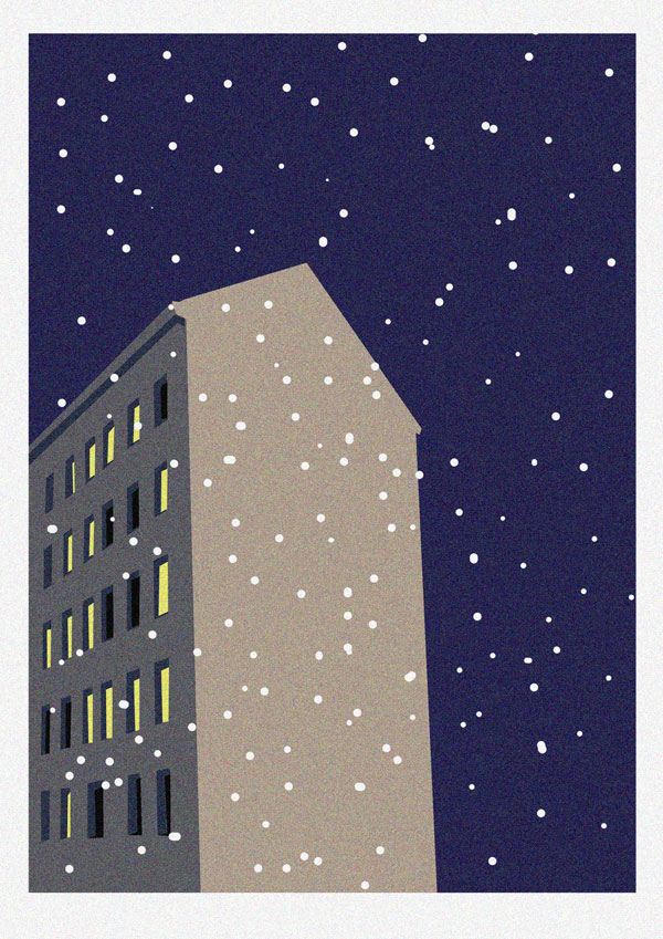 Illustration of a Berlin building at night with snowflakes