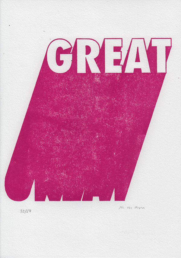 typography woodblock print of the word great