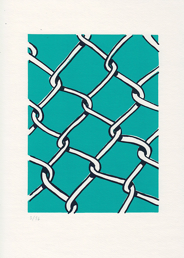 silkscreen print of a wire mesh fence with turquoise background