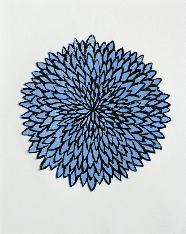 Modern woodblock print of a blue chrysanthem