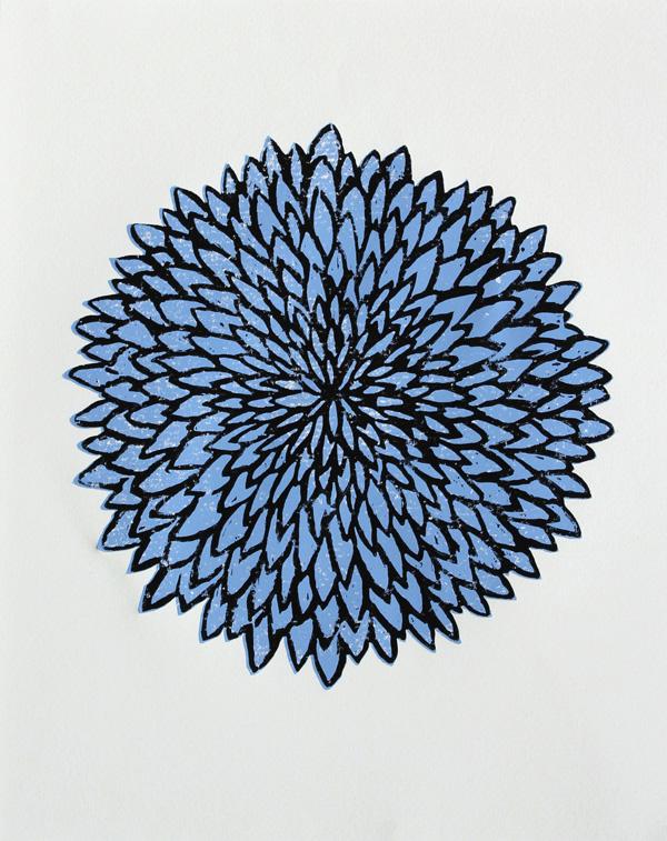 Modern woodblock print of a blue chrysanthem