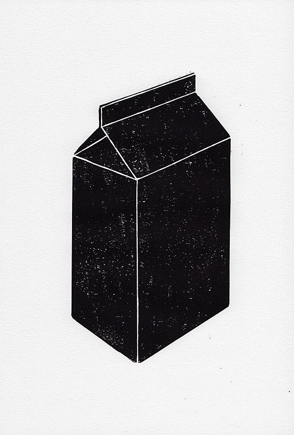 woodblock print of a milk packaging in black