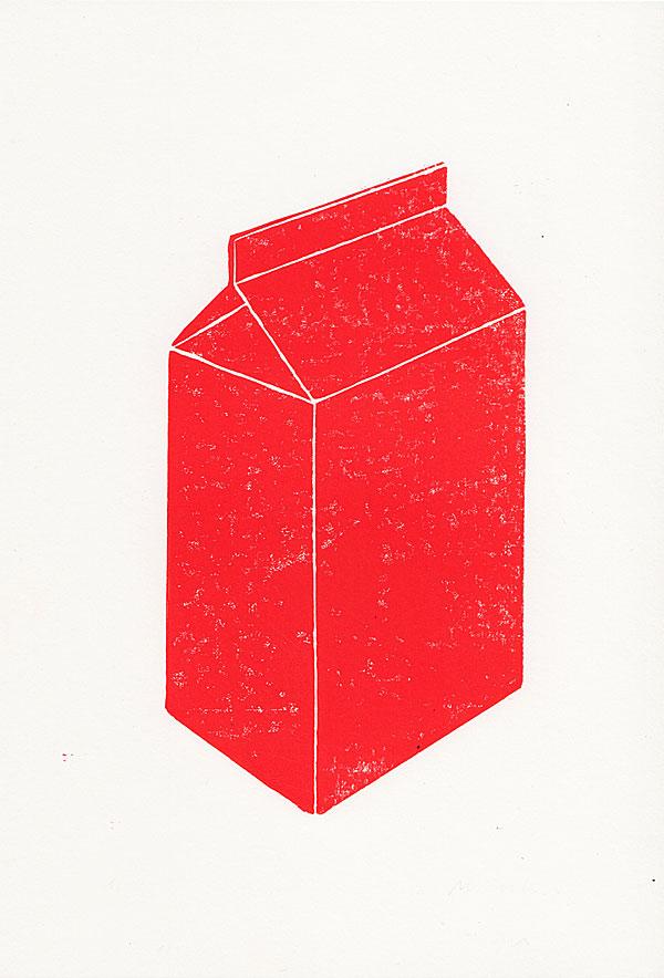 woodblock print of a milk packaging in red