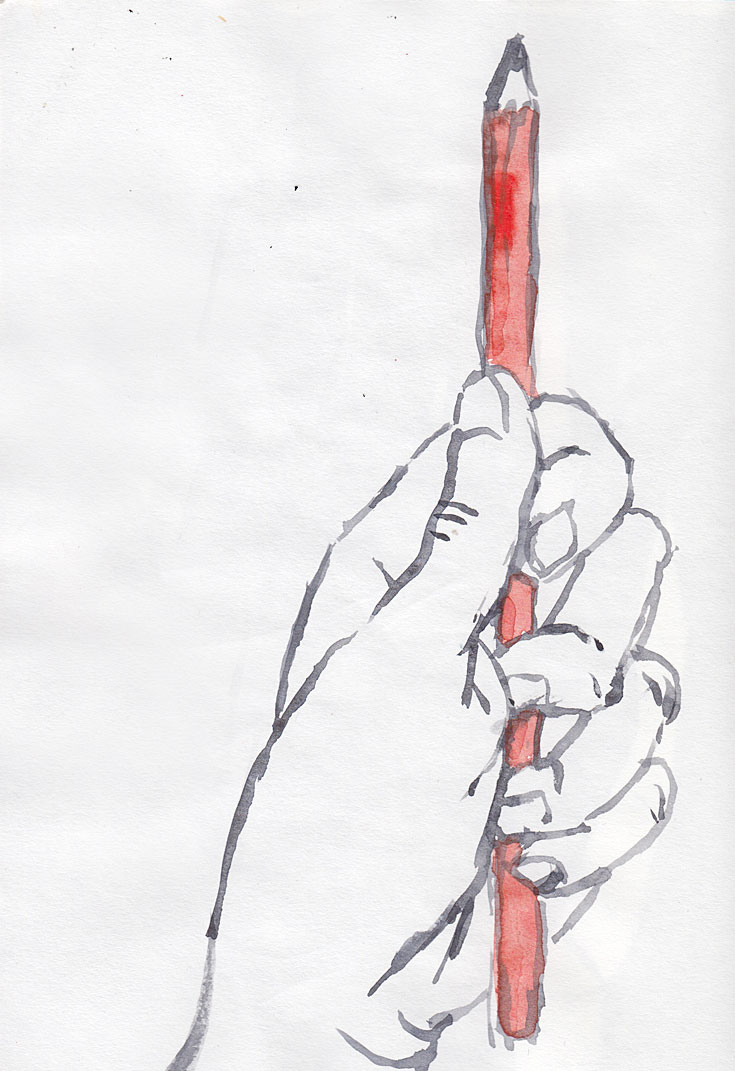 watercolor sketch of a hand holding a red pencil