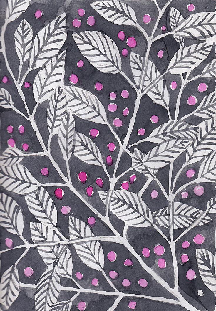 watercolor sketch of grey leaves with pink berries