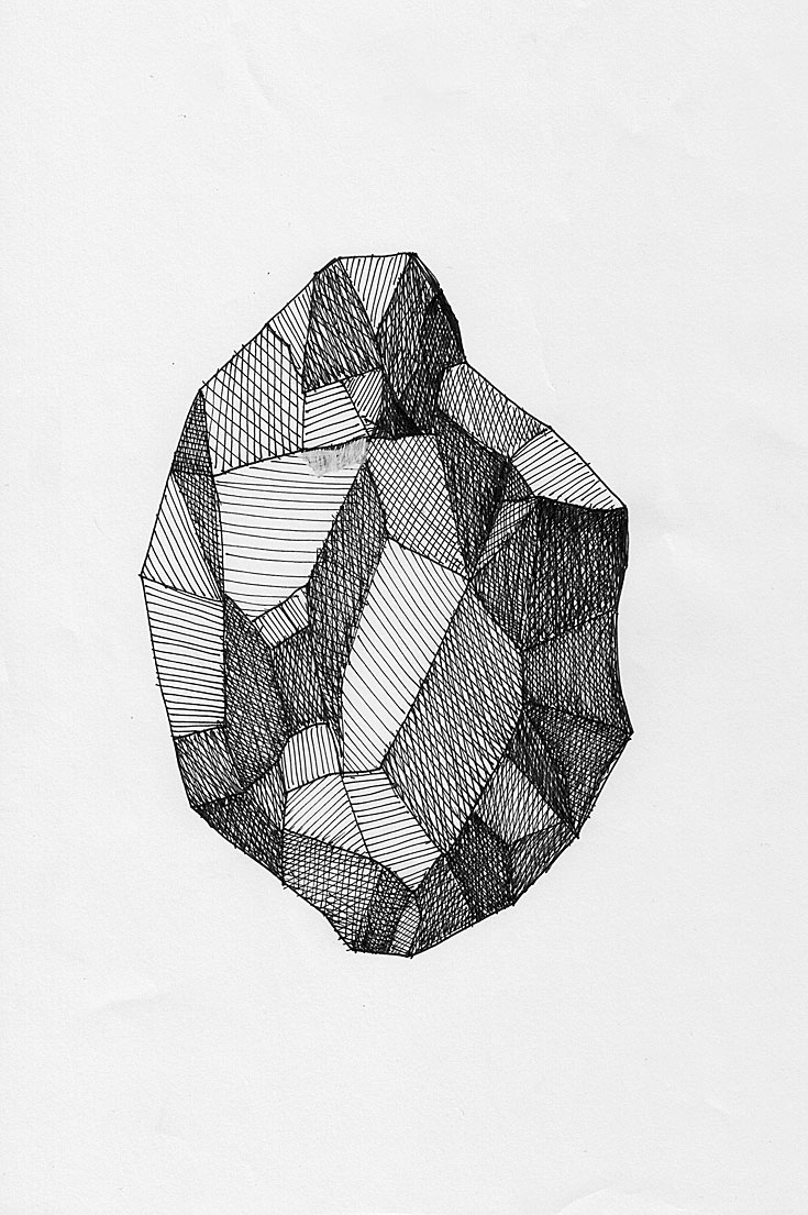 sketch of a raw gem stone in black and white