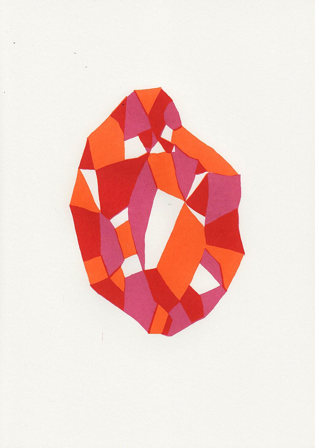 silkscreen print of a a raw diamond in red and orange