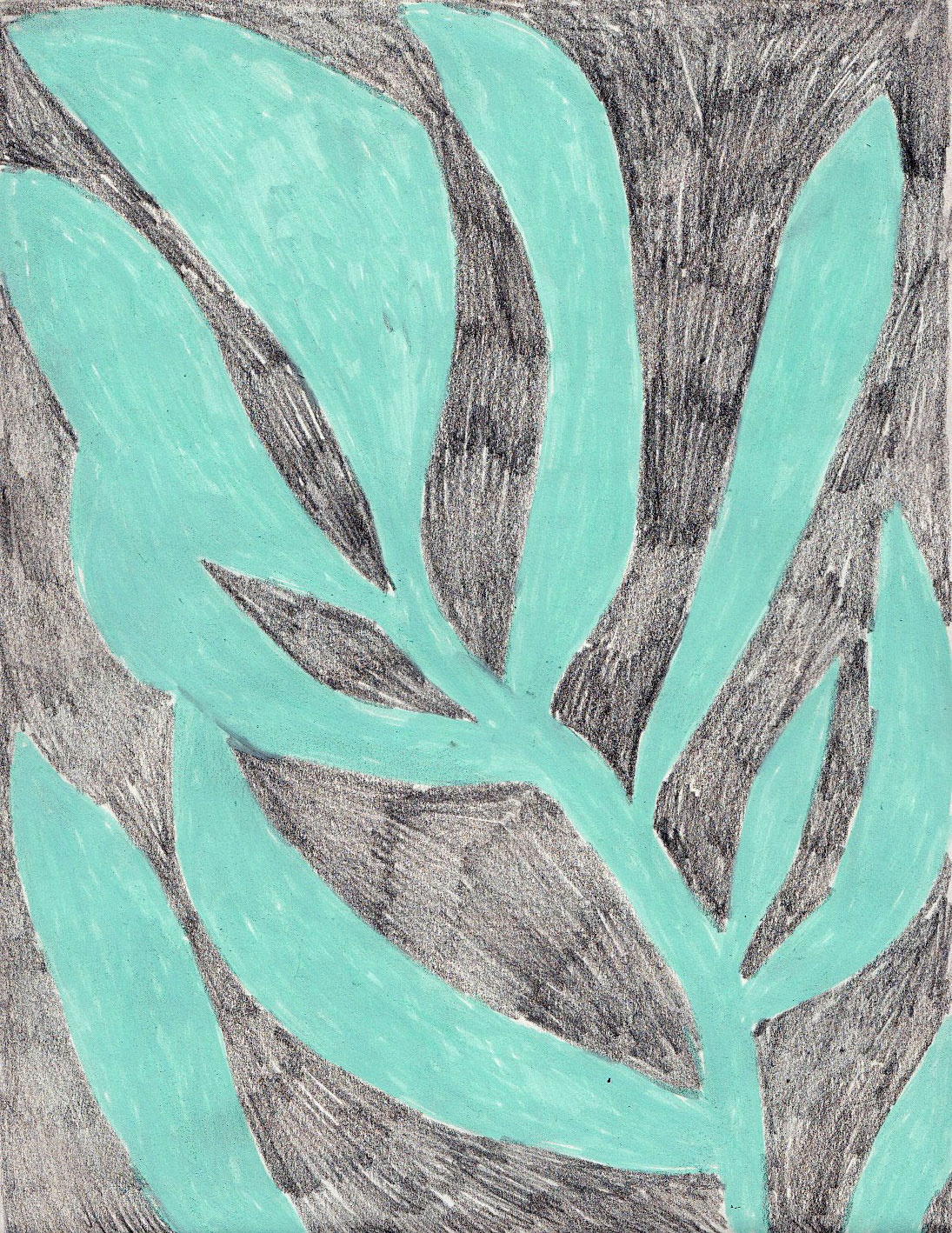 drawing of a plant in pencil and mint green acrylic