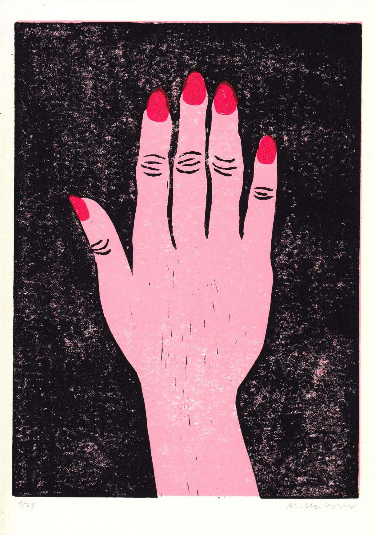 3-color linoprint of a hand with red fingernails