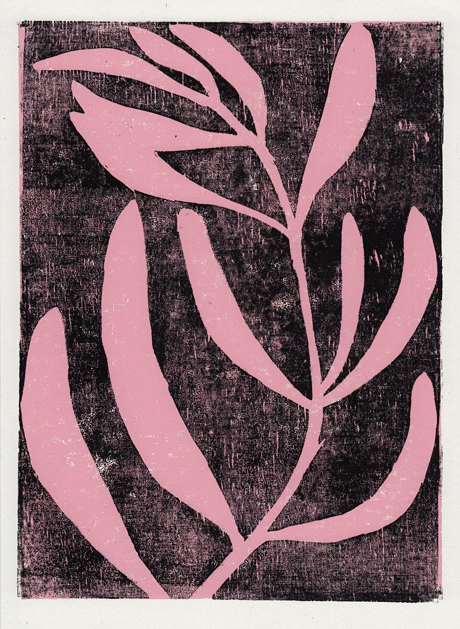 pink plant on black background woodblock print