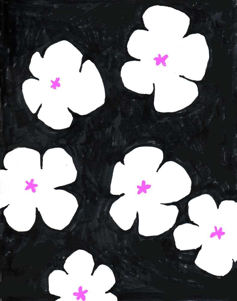deccorativ white flower pattern on black background