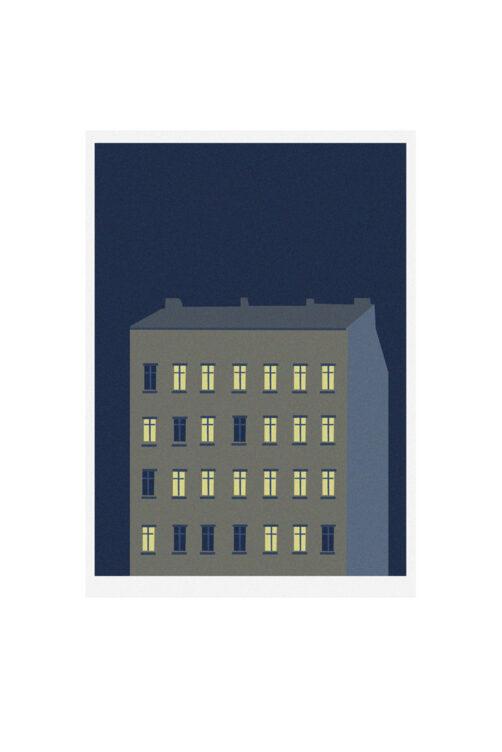 illustration building at night