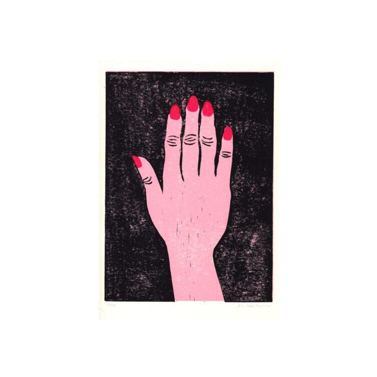art linocut print hand
