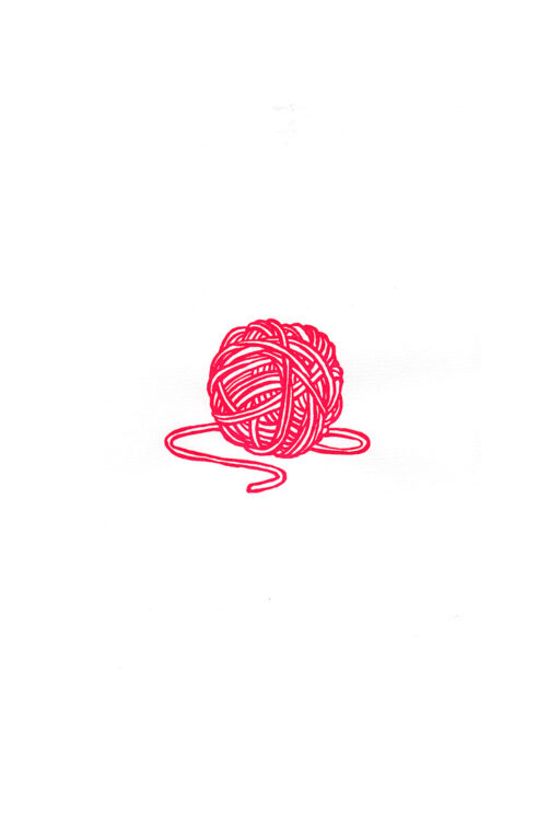 art silkscreen print red ball of wool